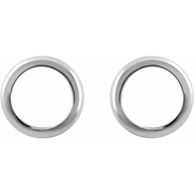 14K White Circle Earrings