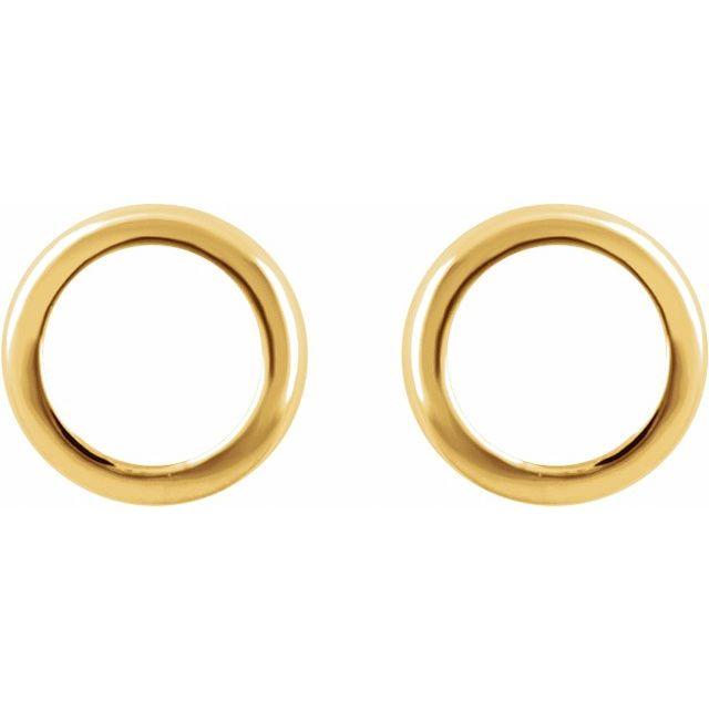 14K Yellow Circle Earrings
