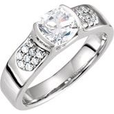 Accented Bezel-Set Engagement Ring or Band