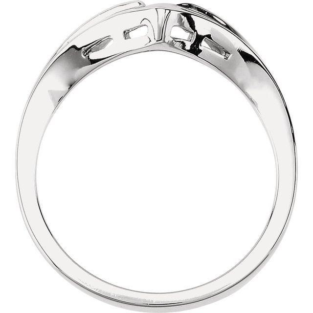 14K White V-Shape Fashion Ring
