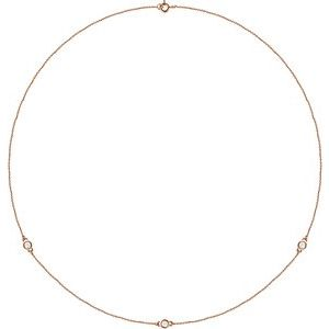"14K Rose 1/4 CTW Lab-Grown Diamond 3-Station 18"" Necklace"