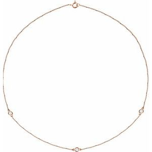"14K Rose 1/3 CTW Lab-Grown Diamond 3-Station 18"" Necklace"