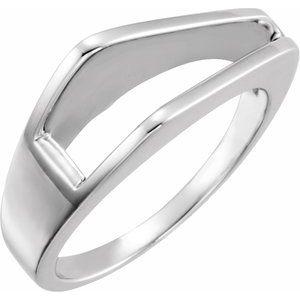 14K White Negative Space Ring