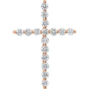 14K Rose 1/4 CTW Diamond Cross Pendant