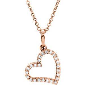 "14K Rose 1/10 CTW Diamond 16"" Necklace"