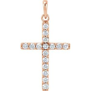 14K Rose 1/2 CTW Diamond Cross Pendant