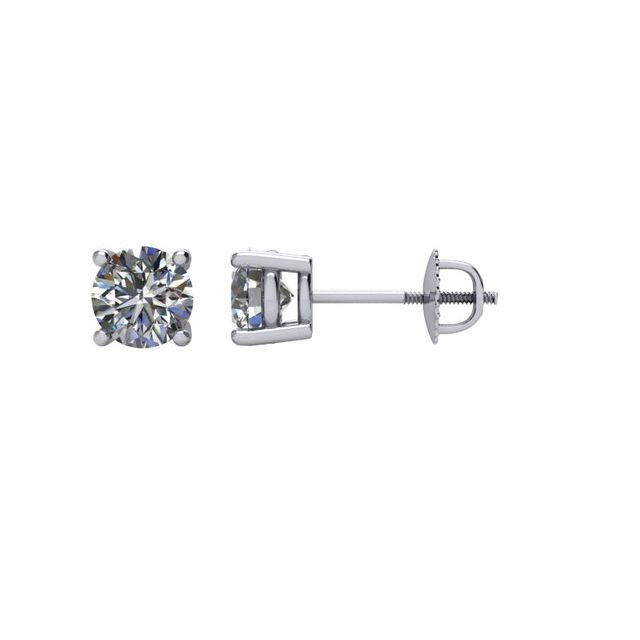 14K White 3/4 CTW Diamond Stud Earrings