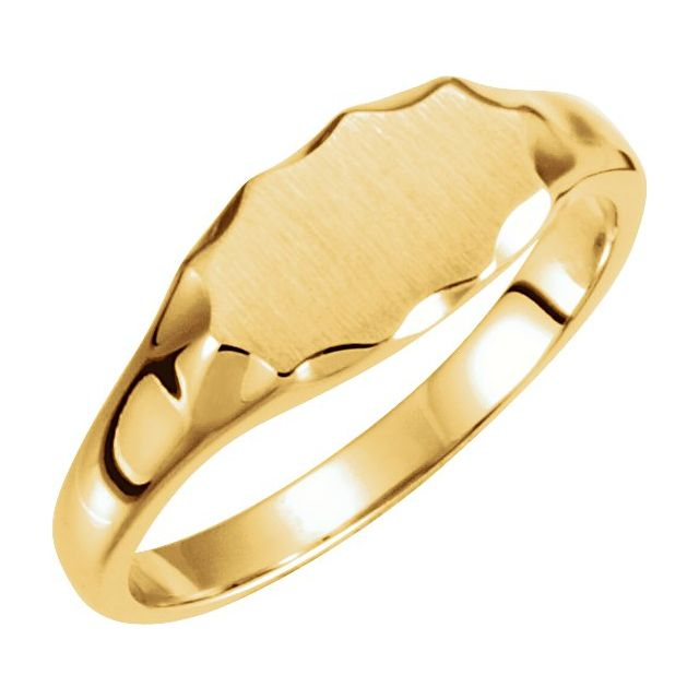 14K Yellow 11.2x6.7 mm Oval Signet Ring