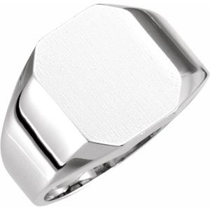 14K White 12x10 mm Octagon Signet Ring
