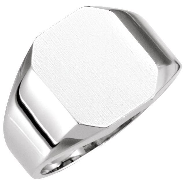 14K White 12x10 mm Octagon Signet Ring
