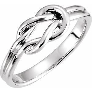 14K White 6 mm Knot Ring