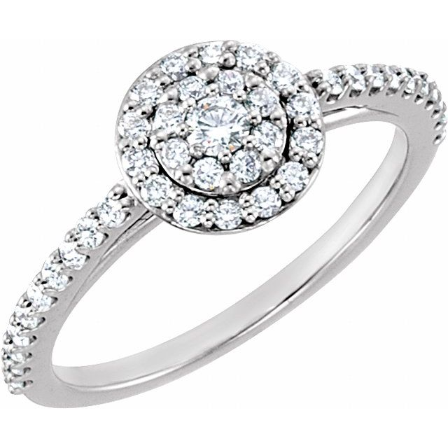 14K White 1/2 CTW Diamond Cluster Halo-Style Engagement Ring