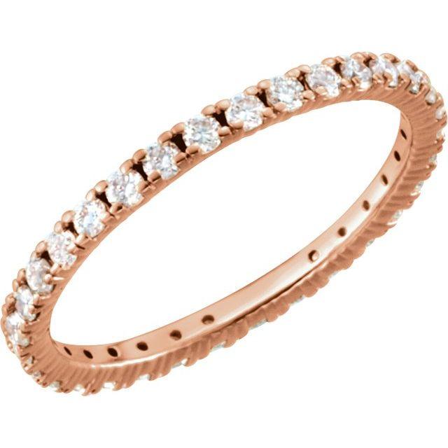 14K Rose 5/8 CTW Diamond Eternity Band Size 6