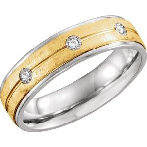 Sterling Silver & 10K Yellow 6 mm .05 CTW Diamond Band Size 13