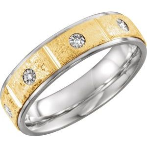 Sterling Silver & 10K Yellow 6 mm .05 CTW Diamond Band Size 9.5
