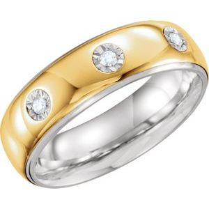 Sterling Silver & 10K Yellow 7 mm 1/10 CTW Diamond Band Size 9.5