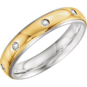 Sterling Silver & 10K Yellow 5 mm .05 CTW Diamond Band Size 13