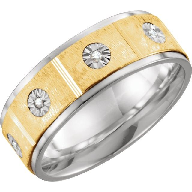 Sterling Silver & 10K Yellow 8 mm 1/10 CTW Diamond Band Size 13