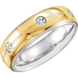 Sterling Silver & 10K Yellow 7 mm .03 CTW Diamond Band Size 12.5