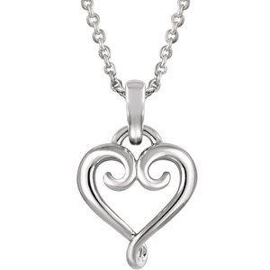 """14K White Fancy Heart 16-18"""" Necklace"""