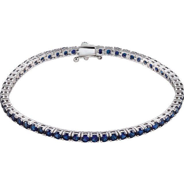 "14K White Lab-Grown Blue Sapphire Line 7.25"" Bracelet"
