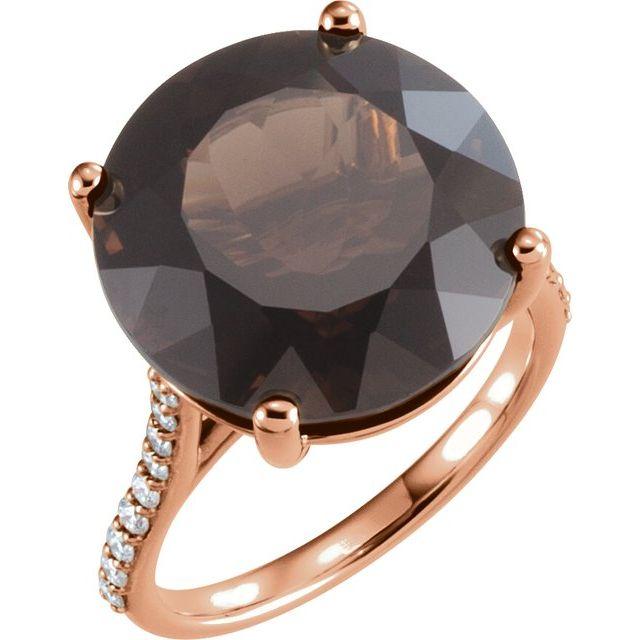 14K Rose Smoky Quartz & 1/4 CTW Accented Diamond Ring