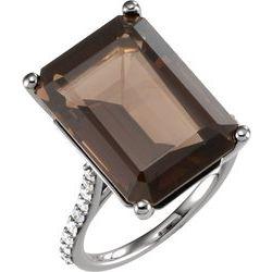 Smoky Quartz & Diamond Ring or Mounting