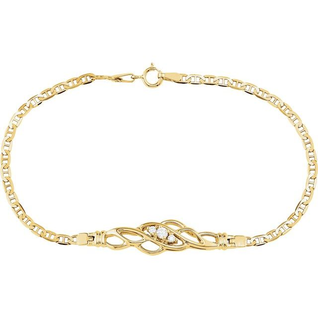"14K Yellow 1/8 CTW Diamond 7 1/2"" Bracelet"