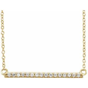 "14K Yellow 1/6 CTW Diamond Bar 18"" Necklace"