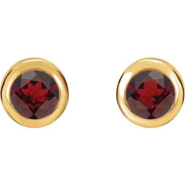 14K Yellow Natural Mozambique Garnet Bezel-Set Earrings
