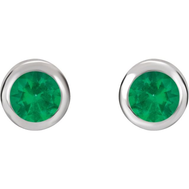 Sterling Silver 4 mm Round Imitation Emerald Birthstone Earrings