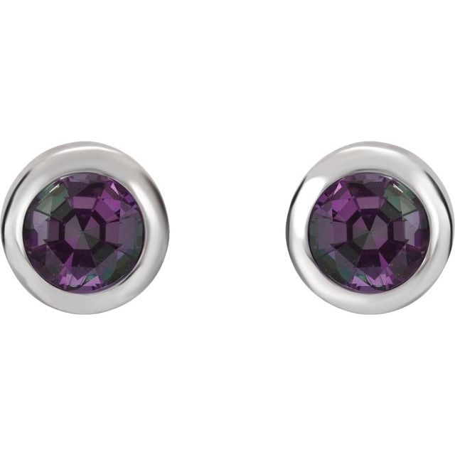 14K White 4 mm Round Chatham® Created Alexandrite Birthstone Earrings