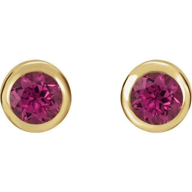 14K Yellow 4 mm Round Genuine Pink Tourmaline Birthstone Earrings