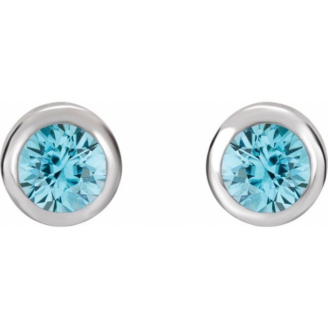 Rhodium-Plated Sterling Silver 4 mm Round Imitation Blue Zircon Birthstone Earrings