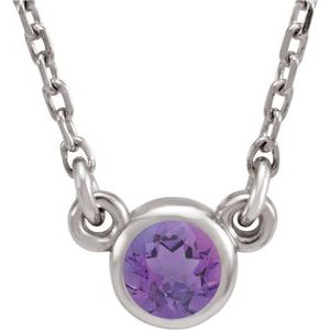 "Rhodium-Plated Sterling Silver 4 mm Round Amethyst Solitaire 16"" Necklace"