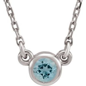 "14K White 3 mm Round Aquamarine Bezel-Set Solitaire 16"" Necklace"