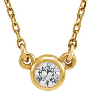 "14K Yellow 4 mm Stuller Moissanite Solitaire 18"" Necklace"