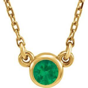 "14K Yellow 3 mm Round Lab-Grown Emerald Bezel-Set Solitaire 16"" Necklace"
