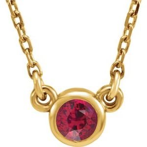 "14K Yellow 3 mm Round Chatham® Lab-Created Ruby Bezel-Set Solitaire 16"" Necklace"
