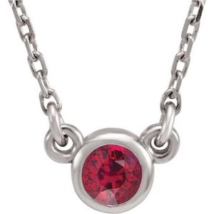 "Rhodium-Plated Sterling Silver 3 mm Round Imitation Ruby Solitaire 16"" Necklace"