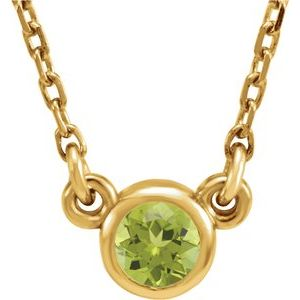 "14K Yellow 4 mm Round Peridot Bezel-Set Solitaire 16"" Necklace"