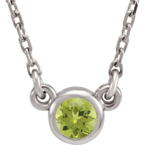 "Rhodium-Plated Sterling Silver 3 mm Round Imitation Peridot Solitaire 16"" Necklace"