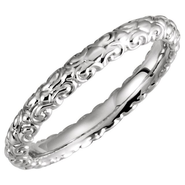 14K White 2.9 mm Sculptural-Inspired Band Size 7