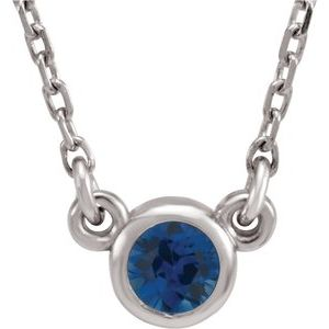 "Rhodium-Plated Sterling Silver 3 mm Round Imitation Blue Sapphire Solitaire 16"" Necklace"