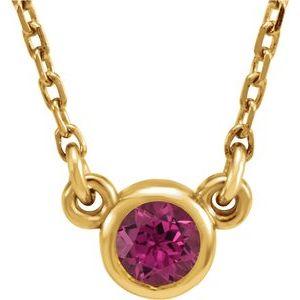 "14K Yellow 4 mm Round Pink Tourmaline Bezel-Set Solitaire 16"" Necklace"