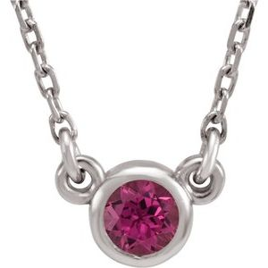 "Rhodium-Plated Sterling Silver 3 mm Round Pink Tourmaline Solitaire 16"" Necklace"