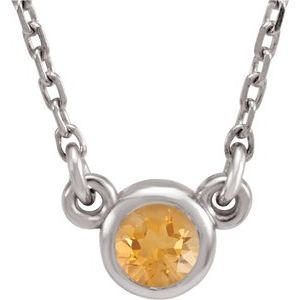 "Rhodium-Plated Sterling Silver 4 mm Round Citrine Solitaire 16"" Necklace"