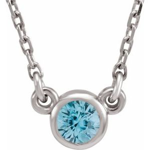 "Rhodium-Plated Sterling Silver 3 mm Round Blue Zircon Solitaire 16"" Necklace"