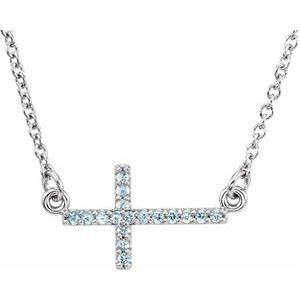 "14K White Aquamarine Sideways Cross 16-18"" Necklace"