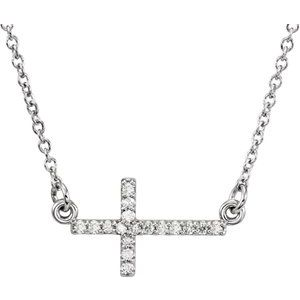 "14K White .07 CTW Diamond Sideways Cross 16-18"" Necklace"